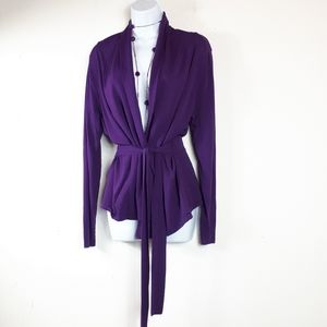 Valenti Rome Purple Belted Cardigan